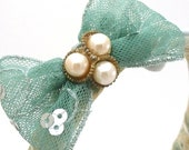 Sea Blue Bow Headband with Vintage Three Pearl Pendant and Recycled Cream Lace (One of a Kind)