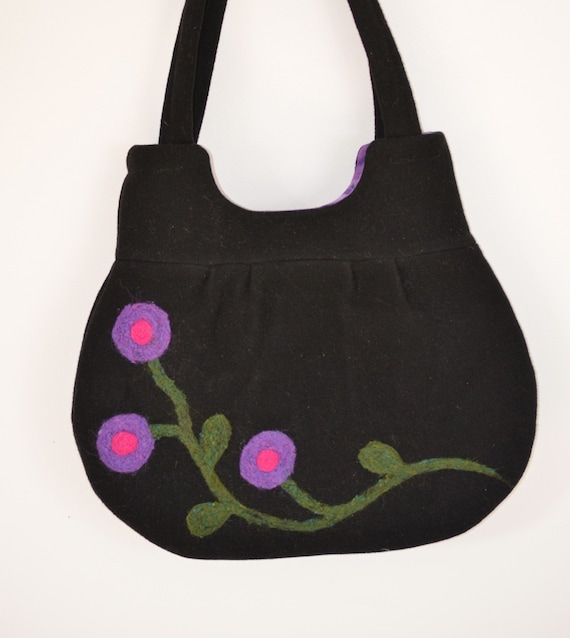 Purse Felted Purple & Pink Flowers Handmade Eco Friendly