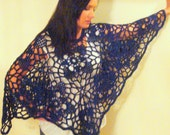 """Poncho, """"Flowers & Lace"""" Deep Sapphire  (ready to ship) SALE Reduced Price free shippin in USA"""