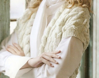 Knitted Cabled Vest/Tunic - Made to Order - free shipping in USA