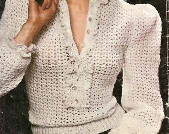 Lacy Crocheted Blouse - Sweater  -  Made to Order