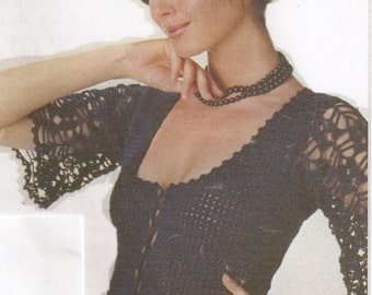 Women's Crocheted Evening Top W/Lacy Sleeves - Made to Order