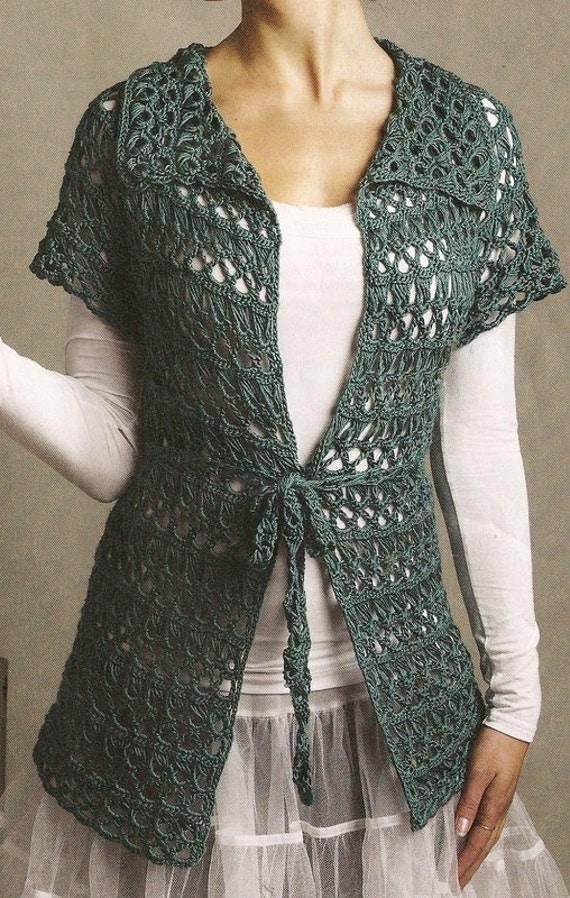 Crocheted Lace Cardigan/Tunic - Deep Jade - Alpaca & Silk - (Ready to Ship)Price Reduced