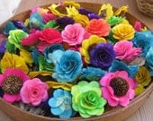 160  Pcs - Wood Flowers - Birch Wood Shavings- Roses and Sunflowers in Assorted Colors - by AccentsandPetals on ETsy