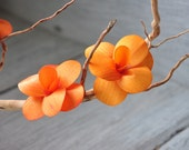 Wooden Blossom Flowers - Orange - Birch Wood Shavings Crafted Flowers - by AccentsandPetals on ETsy