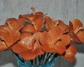 Wild Orchids  Made from Corn Husks - Burnt Orange - Wedding Flowers - One Dozen- Home Decor