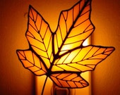 Yellow Stained Glass Maple Leaf Night Light
