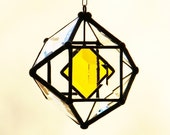 3 Inch Mini Beveled Glass Orb with Yellow Accent