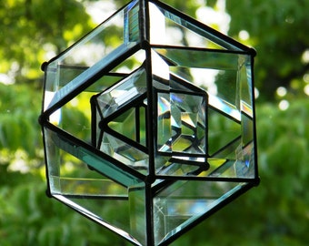 """4"""" Beveled Glass Shaker Orb with Small Orb Center"""