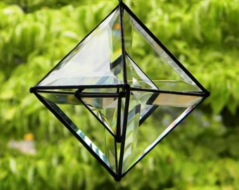 "5.5"" Pyramid Shaker Beveled Glass Orb with Small Orb Center"