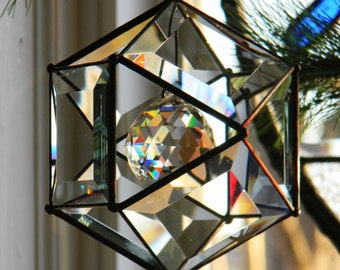 5 Inch Beveled Glass Orb Ornament  with  40mm crystal ball accent.