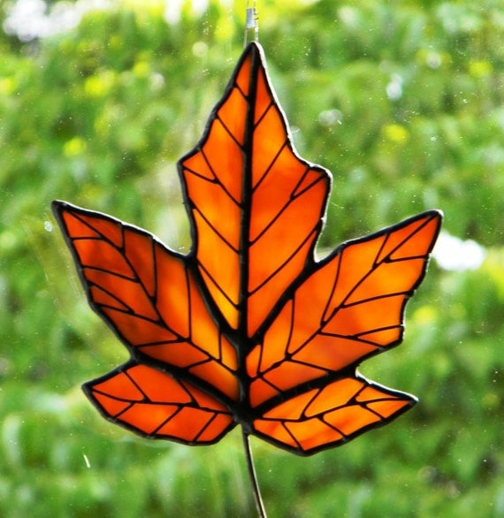 Golden Orange Maple Leaf Sun Catcher