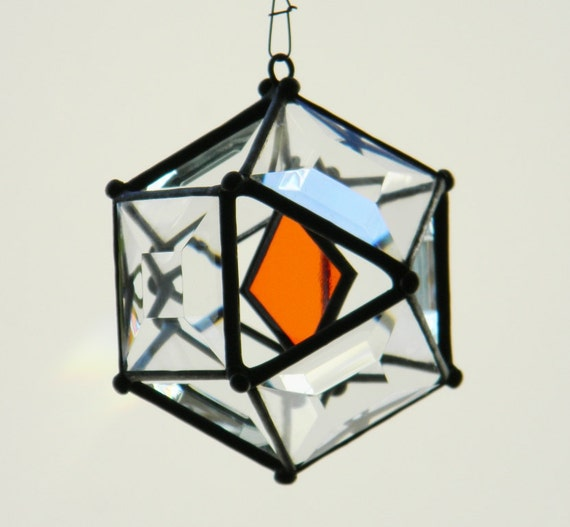 "3"" Mini Beveled Glass Orb with Orange Accent"