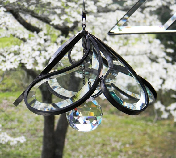 Teardrop Spinning Sun Catcher with 40mm Crystal Accent