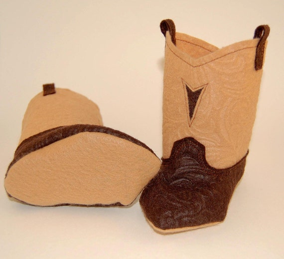 Crib Shoes Brown Leather Like Felt