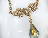 Victorian floral necklace SALE For her. Vintage jewel. Nature colors. Gold blue brown golden yellow and coral. Holiday Christmas December