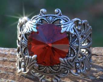 Ring Silver Red casual or formal. Size 4 4.5 5 5.5 6 6.5 7 7.5 8 8.5 9 9.5 10 10.5 11 11.5 12 12.5 13 14 for her red wedding