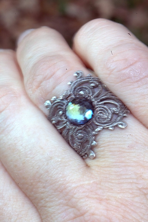 silver ring Sale Gift antiqued Oxidized sterling silver over brass, vintage faceted jewel blue amber green filigree Autumn fall
