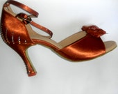 Customized dance shoes size 7, very fine rhinestoned shoes