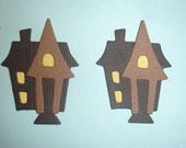 6 Small Haunted House Embellishments for Scrapbooking Cards and Paper Crafts Die Cuts Paper Piecing