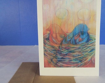 Greeting Card, featuring the painting Nesting #4