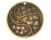 CLEARANCE - FLOWER PENDANT 31mm, in Antique Gold - Qty 1, Swirling Flower Pendant