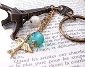 Eiffel Tower Keychain Pendant Brass Bird, Jewels, Paris Antiqued Brass
