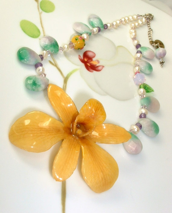 ON SALE - Mahina meli - Necklace, Real Preserved Orchid, multi Gems, Pearls, Lavender Mint Jade, .925 Silver