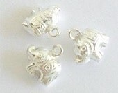 8 of 925 Sterling Silver Elephant Charms 6.5x9 mm. :th0233