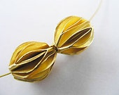 2 of Vermeil Style Pleat Beads 10x12 mm.  :vm0094