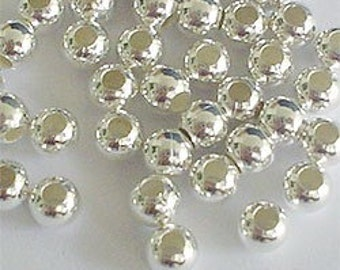 30 of 925 Sterling Silver Seed Beads 4 mm. :th0564