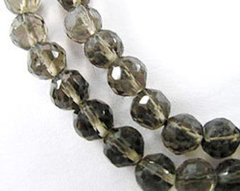 "40 Smoky Quartz Faceted Round Beads 4mm. 6"" :gs6874"