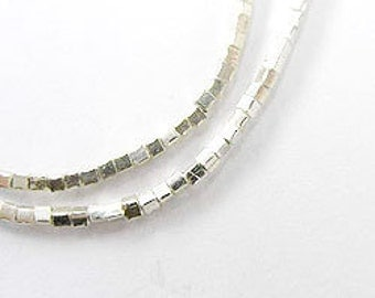 250 of Karen Hill Tribe Silver Tiny Cube Beads 1 mm 13 inches :kg1951