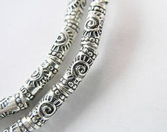20 of Karen Hill Tribe Silver Sun Imprint Tubular Beads 3x9 mm. : ka2933m