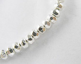 40 of Karen Hill Tribe Silver Faceted Seed Beads 3.2x2 mm. :ka3032