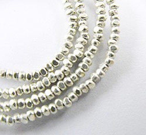 """280 of Karen Hill Tribe Silver Faceted Seed Beads 1.5 mm. 13"""" :ka2449"""