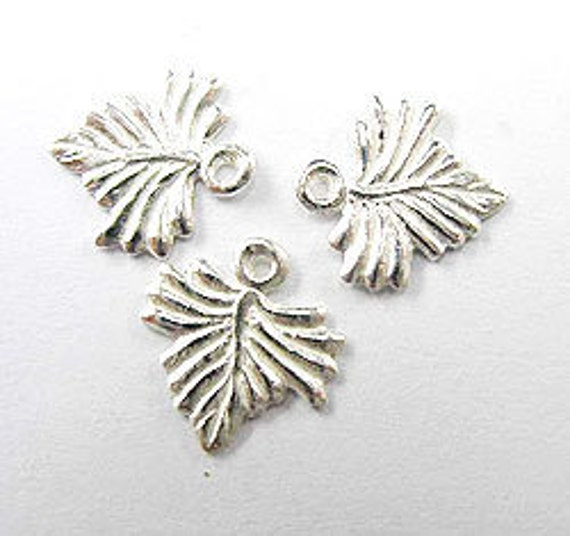 12 of 925 Sterling Silver Leaf Charms 10x9 mm. :th0746