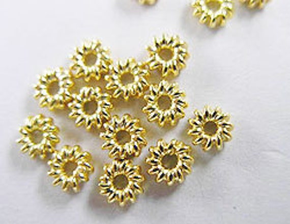 20 of Vermeil Style Spiral Spacer Beads 4 mm.  :vm0047
