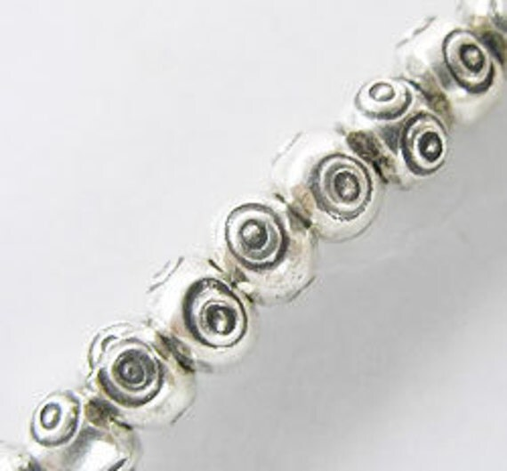 15 of Karen Hill Tribe Silver Eye Imprint Beads 5x3.5 mm. :ka2995