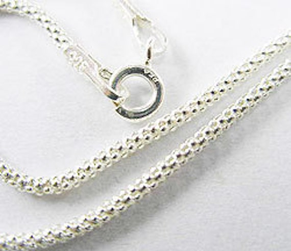 20 inches of 925 Sterling Silver Popcorn Chain Necklace 1.5 mm. :th0992