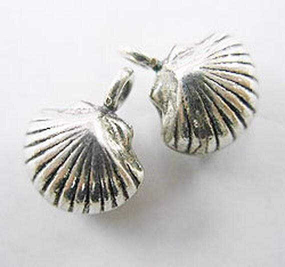 2 of Karen Hill Tribe Silver Seashell Charms 11 mm. :ka1916