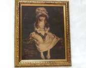 1930s Lithograph Seated Child Garden Picnic in Gilded Frame