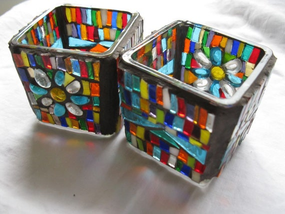 Candle holders - Pair - Mosaic -FREE SHIPMENT