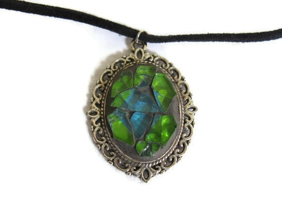 Victorian Pendant Romantic Necklace Mosaic Antiqued Silver Oval Green Blue Glass