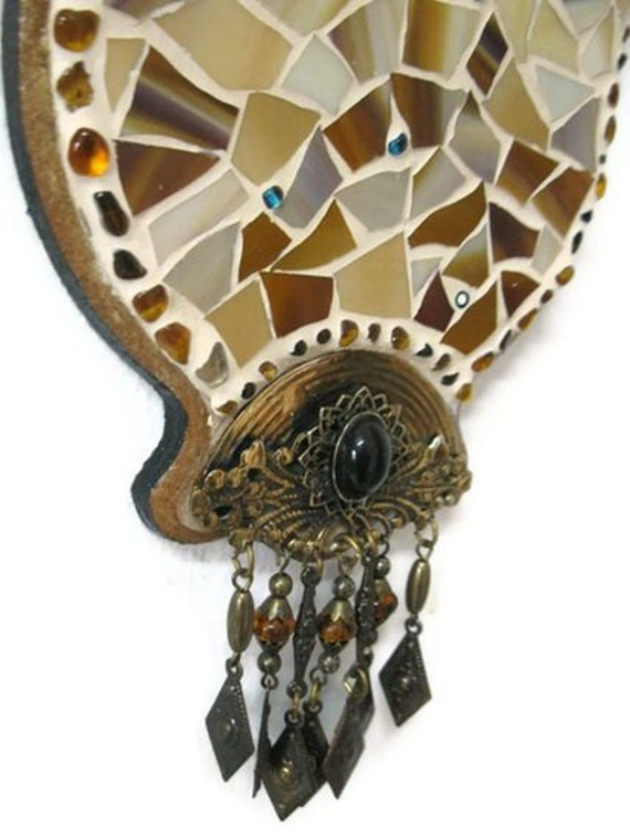 Hamsa Hand Charm Stained Glass Mosaic Wall Art Brown Cream Green Turquoise Beads Home Decoration