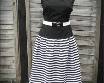 Black and white 1950 style dress, CUSTOM MADE
