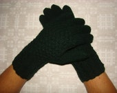 Hand knitted green warm men gloves