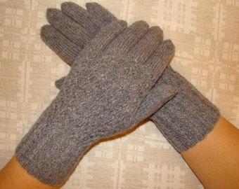 Hand knitted gray womens gloves