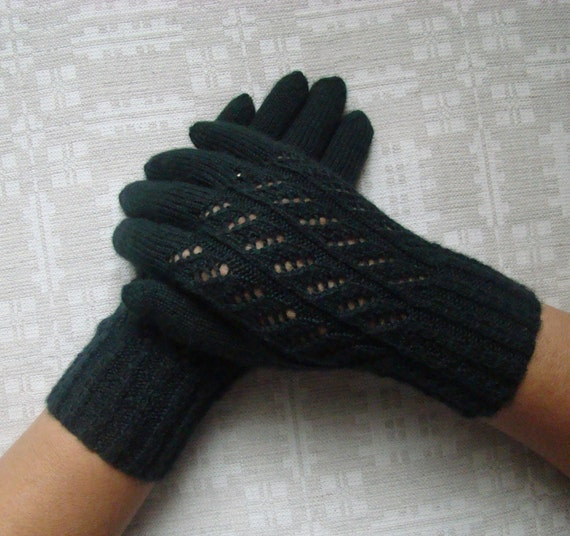 Hand knitted green warm soft womens gloves