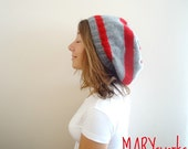 RED and GRAY knitted Slouchy Beanie   Autumn Winter Fall Fashion Ready to ship